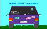 Car with bumper stickers and announcement show your support, test for radon